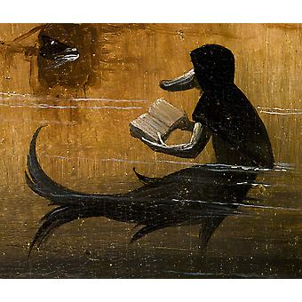 Hieronymus Bosch - Reading Book the Water Poster Print Giclee