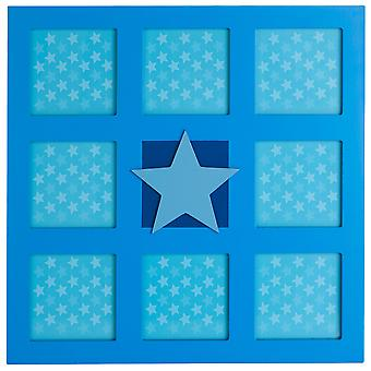 Collage - Star Wall Mounted  8 Photo Square Picture Frame - Blue