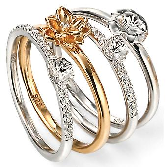 925 Silver Gold Plated And Zirconia Flower Ring