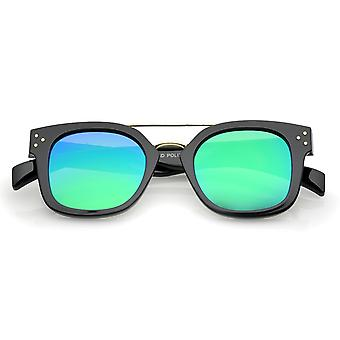 Modern Horn Rim Metal Crossbar Square Flat Mirrored Lens Aviator Sunglasses 48mm