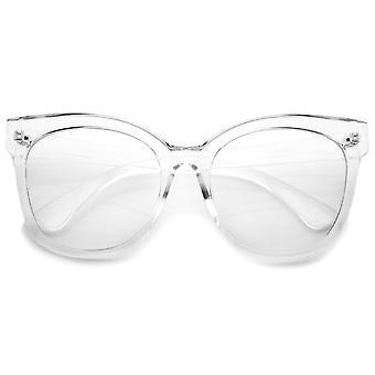 Vrouwen hoorn omrande duidelijk vlakke Lens Oversize Cat Eye Glasses 57mm