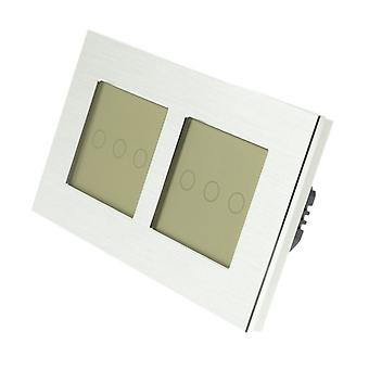 I LumoS Silver Brushed Aluminium Double Frame 6 Gang 1 Way Remote Touch LED Light Switch Gold Insert