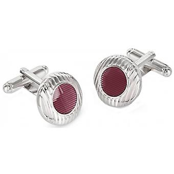 Duncan Walton Sulston Rhodium Plated Grooved Resin Cufflinks - Pink/Silver