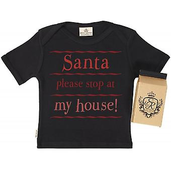 Spoilt Rotten Santa Stop Here Kids T-Shirt 100% Organic In Milk Carton