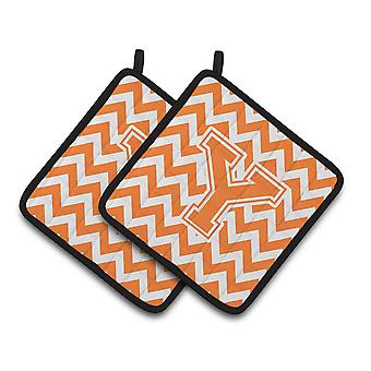 Letter Y Chevron Orange and White Pair of Pot Holders