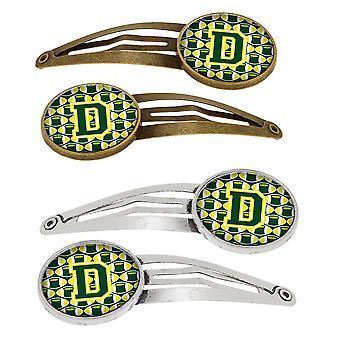 Lettera D calcio verde e giallo Set di 4 clip per capelli Barrettes