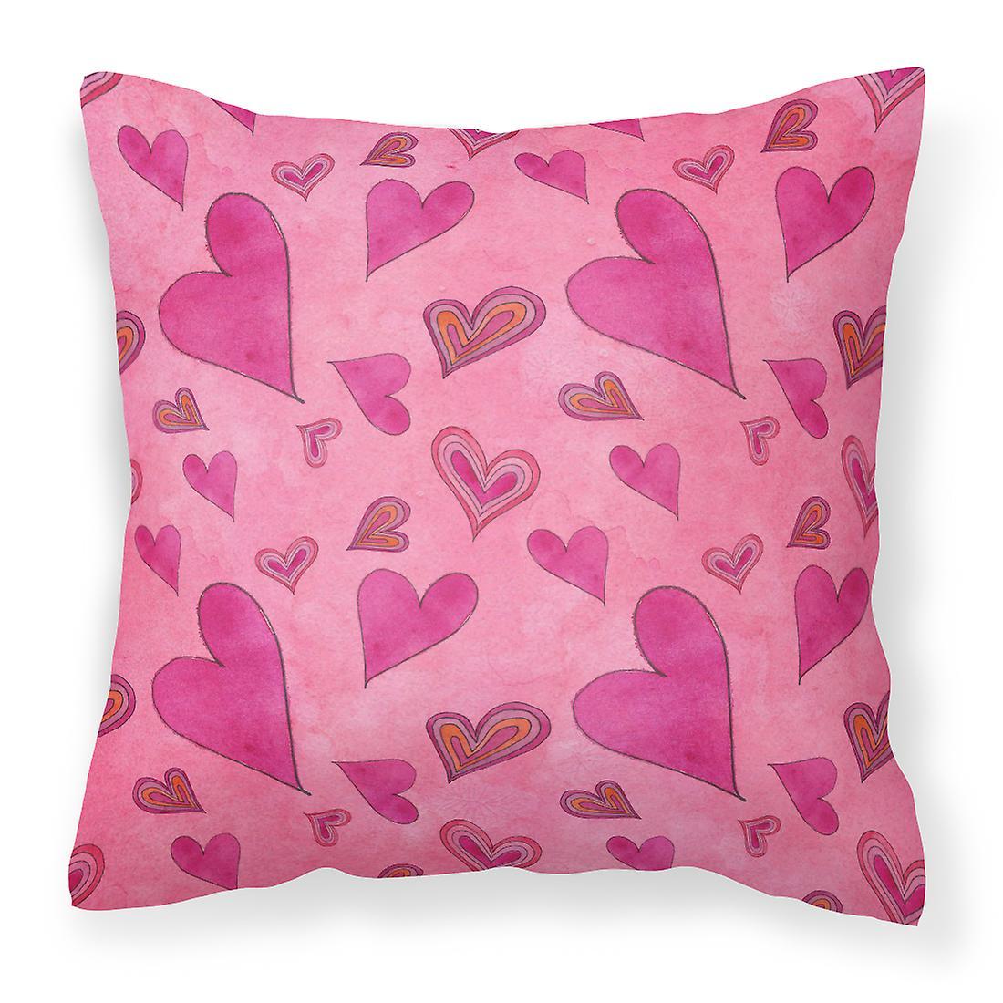 Aquarelle oreiller décoratif amour et coeurs tissu