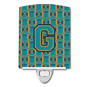 Letter G Football Aqua, Orange and Marine Blue Ceramic Night Light