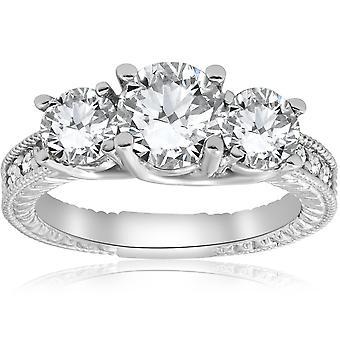 2 1/2 ct ヴィンテージ 3 石ダイヤモンド婚約指輪 14 K ホワイトゴールド
