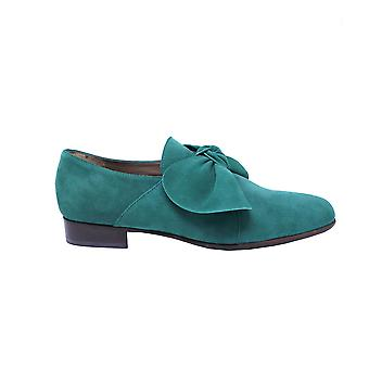 Quoque ladies M10135 green suede lace-up shoes