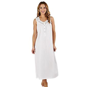 Slenderella ND1211L Women's Dobby Dot White 100% Cotton Night Gown Loungewear Sleeveless Nightdress