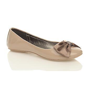 Ajvani Womens flach niedrigem Absatz Ballerina Dolly Schuhe Slipper Slip-on Bow Pumps Ballerinas
