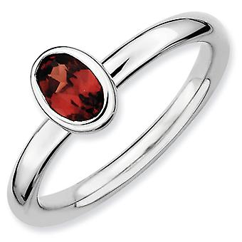 Sterling Silver Bezel Polished Rhodium-plated Stackable Expressions Oval Garnet Ring - Ring Size: 5 to 10