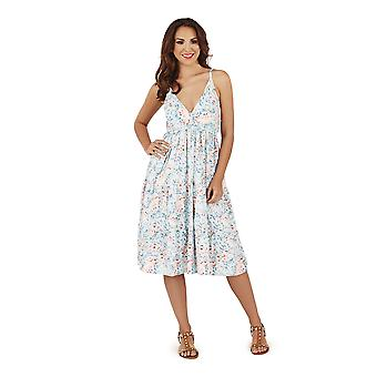 Pistachio, Ladies Cross Front Floral Summer Holiday Dress, Baby Blue, Medium (UK 12-14)