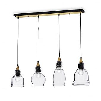 Ideal Lux Gretel Modern Black And Gold Clear Shade Large Island 4 Light