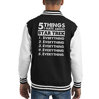 Five Things I Hate About Star Trek Kid's Varsity Jacket