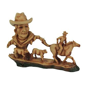 Herd Em Up Decorative Faux Carved Wood Look Statue