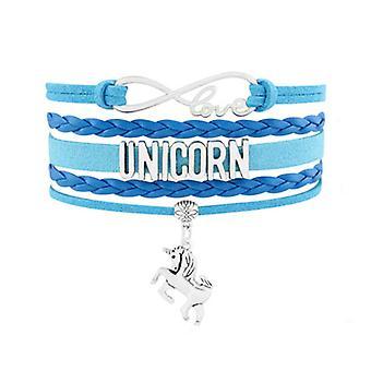 Armband Multi rangordnar kvinna kärlek och Unicorn i mocka och läder blå och metall pengar