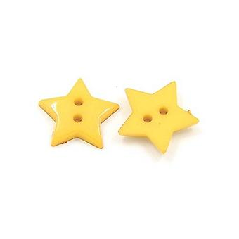 Packet 50+ Dull Yellow Acrylic 19mm Star 2-Holed Sew On Buttons HA09560