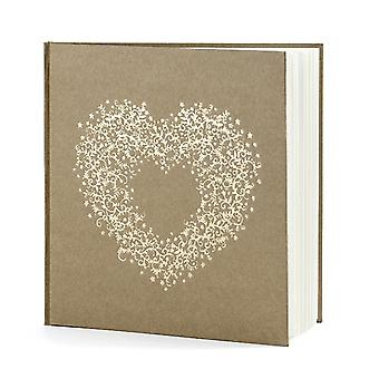 Brown Kraft Wedding Guest Book with Gold Heart  20.5x20.5cm