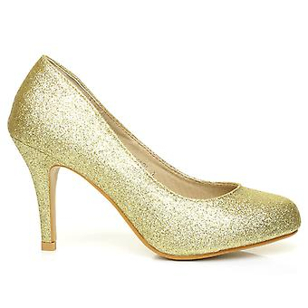 PEARL Gold Glitter Stiletto High Heel Classic Court Shoes