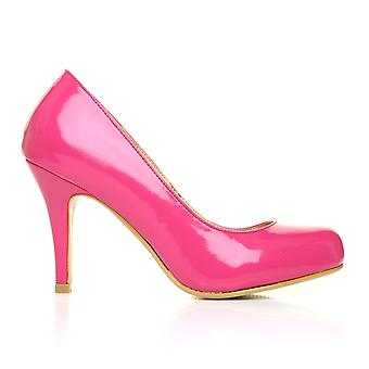 PEARL Fuchsia Patent PU Leather Stiletto High Heel Classic Court Shoes