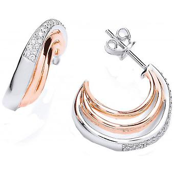 Cavendish French Cubic Zirconia Hooped Earrings - Silver/Rose Gold