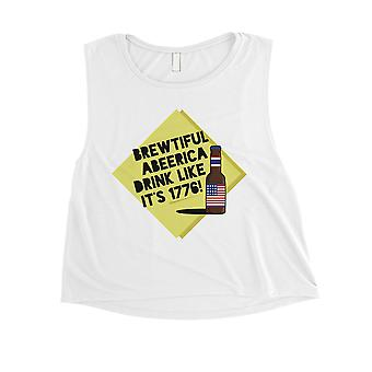 Brewtiful Abeerica Womens White Graphic Crop Tee 4th of July Gift