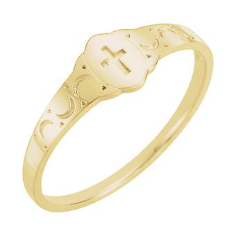 14k Yellow Gold for boys or girls Signet With Cross Ring - .5 Grams - size 3