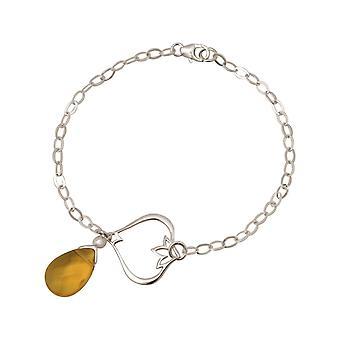 Gemshine - Damen - Armband - 925 Silber - Lotus Blume - Citrin Quarz - Tropfen - GoldGoldgelb - YOGA