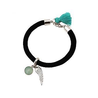 Mujer - pulsera de plata 925 - piedras preciosas - Calcedonia Aqua - alas de Ángel - verde - negro-