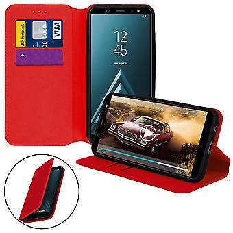 Dunne Case, Classic Edition staan geval met kaartslot voor Samsung Galaxy A6 - rood