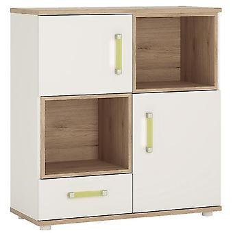 Furniture To Go 4 Kids White Cupboard with 2 Open Shelves - 2 Door 1 Drawer Wooden Inset Oak