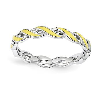 2mm Sterling Silver Polished Rhodium-plated Stackable Expressions Yellow Enamel Ring - Ring Size: 5 to 10