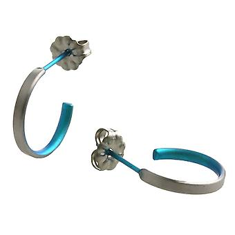 Ti2 Titanium små Hoop øredobber - Kingfisher blå
