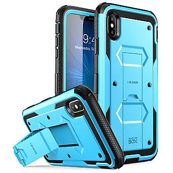 iPhone Xs Max Case, [Armorbox] [Built in Screen Protector] [Heavy Duty Protection] [Kickstand] Case (2018) (Blue)