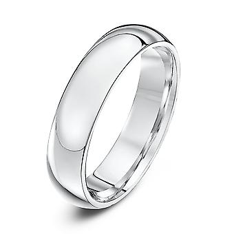 Star Wedding Rings 18ct White Gold Extra Heavy Court Shape 5mm Wedding Ring
