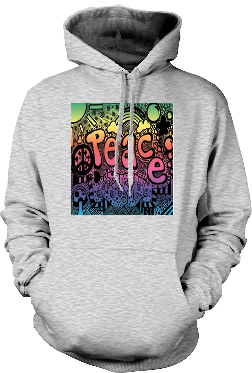 Mens Hoodie - Peace Hippy Psychedelic Design