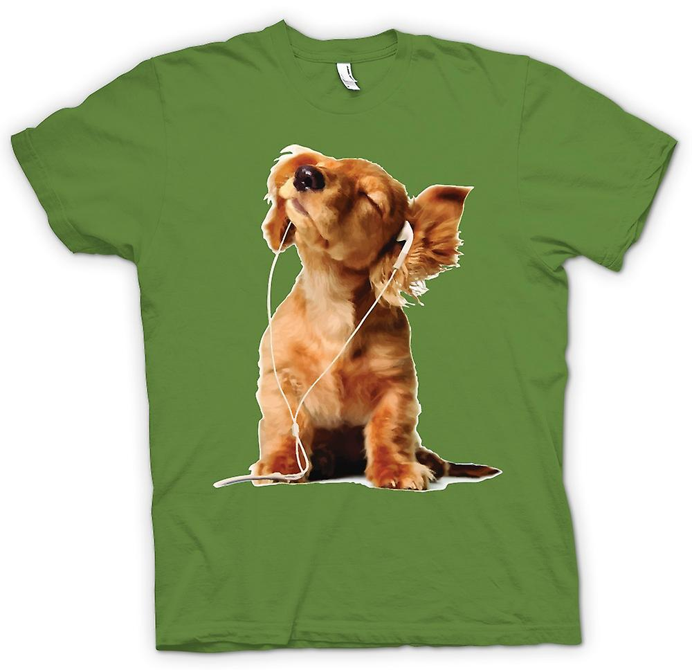 Mens T-shirt - Spaniel Listening To Ipod - Cute