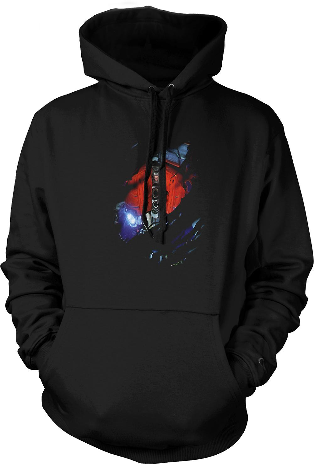 Mens Hoodie Transformers - Optimus Prime strappato Design - ispirato