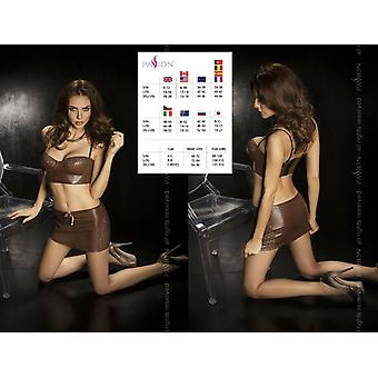 'Passion Lingerie' Brown Punch Out Pattern Faux Leather Top & Skirt  (UK 8- 20)