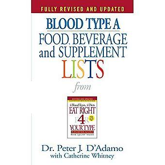 Sangue tipo A alimentos, bebidas e listas suplementares (alimentos, bebidas e suplemento)