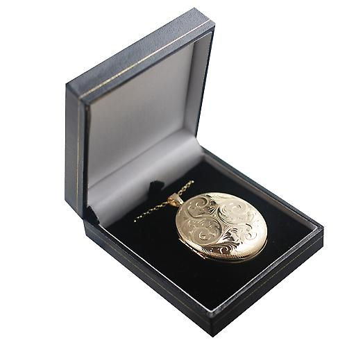 9ct Gold 45x35mm oval hand engraved 4 photo family Locket with a belcher Chain 18 inches