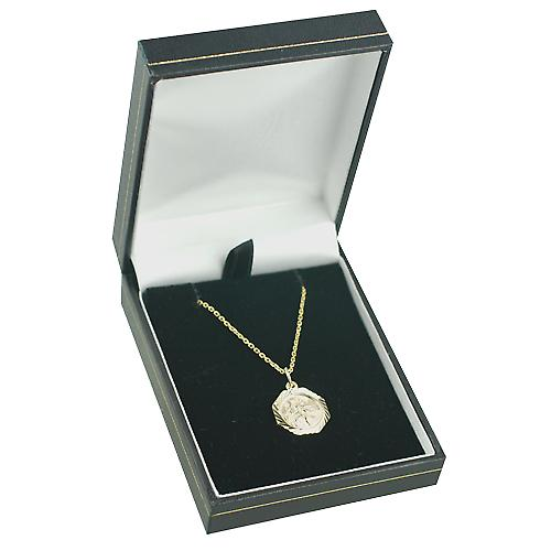 9ct Gold 15x15mm octagonal diamond cut edge St Christopher Pendant with a cable Chain 16 inches Only Suitable for Children