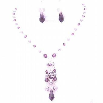 Dressy Jewelry Mauve Pearls Amethyst Crystals Unusual Jewelry Necklace