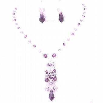 Chic sieraden Mauve parels Amethist kristallen ongewone sieraden ketting
