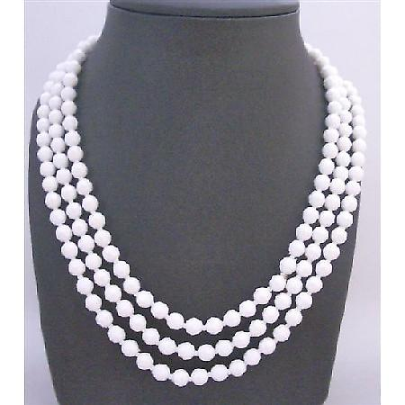 Pure White Beads Long Necklace 64 Inches Inexpensive Bridesmaid