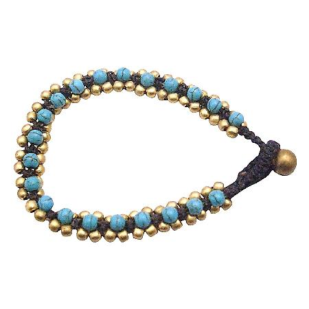 Golden Beads Bracelet Accented Cord Wax Turquiose Stone Embedded