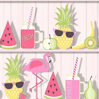 Tropical Shelves Wallpaper Flamingo Watermelon Cocktails Wood Boards Fine Décor