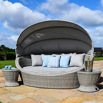 Maze Rattan Oxford Grey Daybed with Side Tables & Retractable Hood